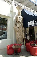 Greek statue outside a restaurant at La Isla Shopping Village mall in the Zona Hotelera, Cancun, Quintana Roo, Mexico.