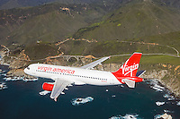 aerial photograph of N628VA, Virgin America Airlines Airbus A320-214, Monterey county Pacific coastline, California