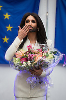 Conchita Wurst in concert in front of the European Parliament in Brussels - Belgium