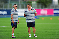 Bath Rugby first team coaches Darren Edwards and Toby Booth look on during the pre-match warm-up. Pre-season friendly match, between Leinster Rugby and Bath Rugby on August 26, 2016 at Donnybrook Stadium in Dublin, Republic of Ireland. Photo by: Patrick Khachfe / Onside Images
