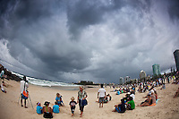 Storm clouds from Cyclone Hamish blanket the contest site of the Quiksilver Pro...COOLANGATTA BEACH, Australia (Tuesday, March 10, 2009) - The Quiksilver Pro Gold Coast presented by LG Mobile was back on today, with Round 4 running in clean four-to-five (1.5 metre) waves at Coolangatta Beach. The Quarter Finals were also completed with tow local surfer and former winners of the event Mick Fanning(Aus) and Joel Parkinson (Aus) set to met in the first semi final. .Event No. 1 of 10 on the 2009 ASP World Tour, the Quiksilver Pro Gold Coast enters into its third location of the event, with early rounds running at Duranbah Beach before relocating to the primary site at Snapper Rocks to today's venue at nearby Coolangatta Beach..  Photo: joliphotos.com