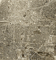 historical aerial photograph Bakersfield, California, 1968