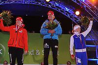 SCHAATSEN: AMSTERDAM: Olympisch Stadion, 28-02-2014, KPN NK Sprint/Allround, Coolste Baan van Nederland, podium Dames Allround 500m, Marije Joling, Jorien ter Mors, Annouk van der Weijden, ©foto Martin de Jong