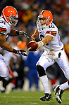 17 November 2008:  Cleveland Browns' quarterback Brady Quinn hands off to running back Jamal Lewis in the third quarter against the Buffalo Bills at Ralph Wilson Stadium in Orchard Park, NY. The Browns defeated the Bills 29-27 in the Monday Night AFC matchup. *** Editorial Sales Only ****..Mandatory Photo Credit: Ed Wolfstein Photo