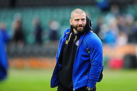 Strength and Conditioning Coach Jameson Mola looks on during the pre-match warm-up. Aviva Premiership match, between Bath Rugby and Sale Sharks on April 23, 2016 at the Recreation Ground in Bath, England. Photo by: Patrick Khachfe / Onside Images