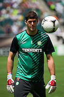 Celtic F. C. goalkeeper Fraser Forster (1). Real Madrid defeated Celtic F. C. 2-0 during a 2012 Herbalife World Football Challenge match at Lincoln Financial Field in Philadelphia, PA, on August 11, 2012.