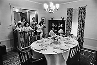 June 1970, Brookline, Massachusetts, <br /> Visitors look at the dining room in the J.F. Kennedy Birthplace Historic Site, the three story house in Brookline in which US President John F. Kennedy was born. After JFK's death, the Kennedy family bought back the house at 83 Beals Street from the then owners and turned it into a museum of the Kennedys' childhoods.