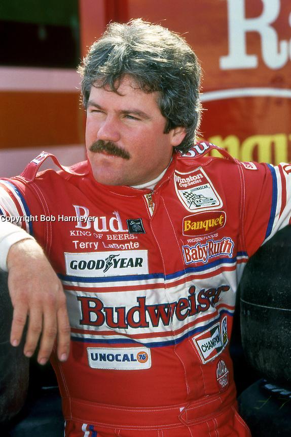 DAYTONA BEACH, FL - FEBRUARY 14: Terry Labonte waits to drive his Junior Johnson Chevrolet during practice for the Daytona 500 NASCAR Winston Cup race at the Daytona International Speedway in Daytona Beach, Florida, on February 14, 1988.