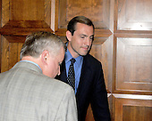 Washington, DC - May 7, 2008 -- United States Representative Vito J. Fossella (Republican of New York) is joined by an unidentified staff member in an elevator in the Rayburn House Office Building after departing his Capitol Hill office in Washington, DC on Wednesday, May 7, 2008.  He was in his office for 38 minutes and 29 seconds.  Fossella has admitted to an extra-marital affair with Laura Fay, with whom he has fathered a daughter..Credit: Ron Sachs / CNP.(RESTRICTION: NO New York or New Jersey Newspapers or newspapers within a 75 mile radius of New York City)