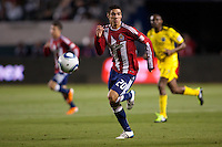Defender Zarek Valentin (20) of Chivas USA chases down a ball. Chivas USA and Columbus Crew played to a 0-0 tie at Home Depot Center stadium in Carson, California on  April  9, 2011....