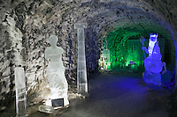 Yakutsk, Yakutia, Russia, 19/08/2011..Ice sculptures inside the Permafrost Kingdom, an underground tourist attraction inspired by the extreme cold of Yakutia. The 150 metre deep complex of tunnels in the Russian permafrost are decorated with ice sculptures, a wolf-fur covered throne, an office complete with the coolest computer and telephone, a children's slide and other ingenious creations - all hewn from blocks of ice.