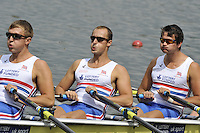 Amsterdam, NETHERLANDSS, GBR M4X. right to left  Stewart INNES, Jack HOCKLEY and John COLLINS.  2011 FISA U23 World Rowing Championships, {dow}, {date} [Mandatory credit:  Intersport Images].