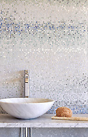 Mist, a hand chopped stone mosaic shown in tumbled Ming Green, Kays Green, Celeste, Calacatta, Blue Macauba and Lettuce Ming, is part of the Metamorphosis Collection by Sara Baldwin for New Ravenna Mosaics.
