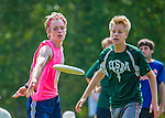 30 May 2015: Burlington High School plays The Sharon Academy in a consolation round of the VYUL State Ultimate Disk Championships at Bombardier Park in Milton, Vermont. Mandatory Credit: Ed Wolfstein Photo *** RAW (NEF) Image File Available ***