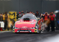 Feb 10, 2017; Pomona, CA, USA; NHRA funny car driver Courtney Force during qualifying for the Winternationals at Auto Club Raceway at Pomona. Mandatory Credit: Mark J. Rebilas-USA TODAY Sports