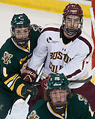 Nick Bruneteau (UVM - 4), Destry Straight (BC - 17) - The Boston College Eagles defeated the University of Vermont Catamounts 4-1 on Friday, February 1, 2013, at Kelley Rink in Conte Forum in Chestnut Hill, Massachusetts.