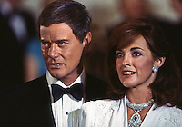 "Larry Hagman and Linda Gray as J.R. and Sue Ellen Ewing, ""Dallas,"" TV Show, 1980. Photo by John G. Zimmerman."