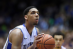 08 November 2014: Duke's Jahlil Okafor. The Duke University Blue Devils hosted the University of Central Missouri Mules at Cameron Indoor Stadium in Durham, North Carolina in an NCAA Men's Basketball exhibition game. Duke won the game 87-47.