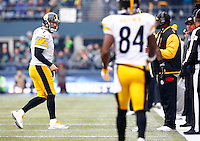 Ben Roethlisberger #7 of the Pittsburgh Steelers yells at teammate Martavis Bryant #10 of the Pittsburgh Steelers following a miscommunication on a pass near the end zone in the first half against the Seattle Seahawks during the game at CenturyLink Field on November 29, 2015 in Seattle, Washington. (Photo by Jared Wickerham/DKPittsburghSports)