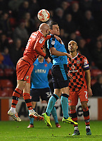 Fleetwood Town's Bobby Grant and Walsall's James O'Connor battle for the ball<br /> <br /> Photographer Dave Howarth/CameraSport<br /> <br /> The EFL Sky Bet League One - Walsall v Fleetwood Town - Tuesday 14th March 2017 - Banks's Stadium - Walsall<br /> <br /> World Copyright &copy; 2017 CameraSport. All rights reserved. 43 Linden Ave. Countesthorpe. Leicester. England. LE8 5PG - Tel: +44 (0) 116 277 4147 - admin@camerasport.com - www.camerasport.com
