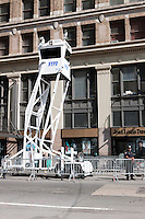 NYPD Mobile Observation Tower deployed at the intersection of Church and Vesey Streets during heightened security alert on September 10, 2011