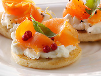 Smoked salmon and cream cheese blini canipes
