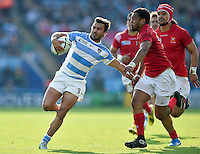 Martin Landajo of Argentina takes on the Tonga defence. Rugby World Cup Pool C match between Argentina and Tonga on October 4, 2015 at Leicester City Stadium in Leicester, England. Photo by: Patrick Khachfe / Onside Images