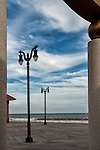 Linear perspective of boardwalk lamp/light posts on pier in Atlantic City, NJ.