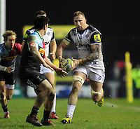 Dominic Day of Bath Rugby in possession. Aviva Premiership match, between Harlequins and Bath Rugby on March 11, 2016 at the Twickenham Stoop in London, England. Photo by: Patrick Khachfe / Onside Images