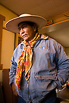 Tim Crutcher, cowboy, with wild rag in the Rome Station Café