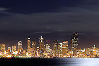 Seattle skyline reflecting in Elliot Bay viewed from West Seattle, Seattle, Washington, USA