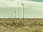 Raechelle Chase among the windmills in Palm Springs, California USA