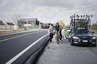 Krists Neilands (LAT/Israel Cycling Academy) being helped back on the road after a mechanical<br /> <br /> 72nd Dwars Door Vlaanderen (1.UWT)<br /> 1day race: Roeselare &rsaquo; Waregem BEL (203.4km)