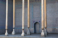 Low angle view of columns and majolica tiling, winter mosque, Kukhna Ark, Khiva, Uzbekistan, pictured on July 6, 2010, in the afternoon. The Kukhna Ark is the original home of the Khans. Although its foundations are 5th century, most of the complex is 19th century.  Khiva, ancient and remote, is the most intact Silk Road city. Ichan Kala, its old town, was the first site in Uzbekistan to become a World Heritage Site(1991). Picture by Manuel Cohen.