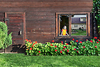 7-years old caucasian girl looking through window. White home reflecting on window. Gardening and flowerbed. Rural log cabin in Estonia.