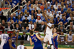 31 MAR 2012:  Miachel Kidd-Gilchrist (14) of the University of Kentucky shoots over Jeff Withey (5) of the University of Kansas in the championship game of the 2012 NCAA Men's Division I Basketball Championship Final Four held at the Mercedes-Benz Superdome hosted by Tulane University in New Orleans, LA. Kentucky defeated Kansas 67-59 to win the national title. Brett Wilhelm/NCAA Photos