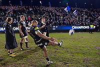Jonathan Joseph of Bath Rugby boots his signed and personalised ball into the crowd after the match. European Rugby Champions Cup match, between Bath Rugby and RC Toulon on January 23, 2016 at the Recreation Ground in Bath, England. Photo by: Patrick Khachfe / Onside Images