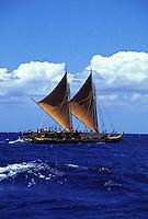 Original Hawaiian sailing canoe, the Hokulea, out to sea