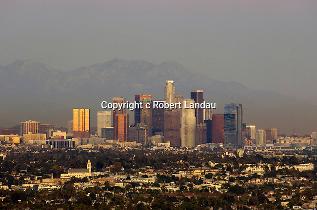 The downtown Los Angeles skyline seen from the Blair Hills at dusk