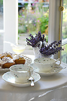 Afternoon tea of lavender cup cakes and lavender and honey infused tea