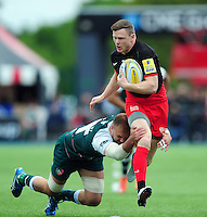 Chris Ashton of Saracens looks to get past Lachlan McCaffrey of Leicester Tigers. Aviva Premiership semi final, between Saracens and Leicester Tigers on May 21, 2016 at Allianz Park in London, England. Photo by: Patrick Khachfe / JMP