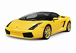 Yellow 2006 Lamborghini Gallardo Spyder supercar sports car isolated on white background with clipping path