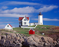 York County; ME<br /> Cape Neddick (&quot;Nubble&quot;) Light Station (1879) under scattered clouds