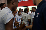 {June 27, 2012} {4:00pm} -- New York, NY, U.S.A.Duke basketball star Austin Rivers is surrounded by an excited group of Dunlevy Milbank Boys &amp; Girls Club members in Harlem before the NBA draft Thursday in Manhattan, New York on June 27, 2012. .