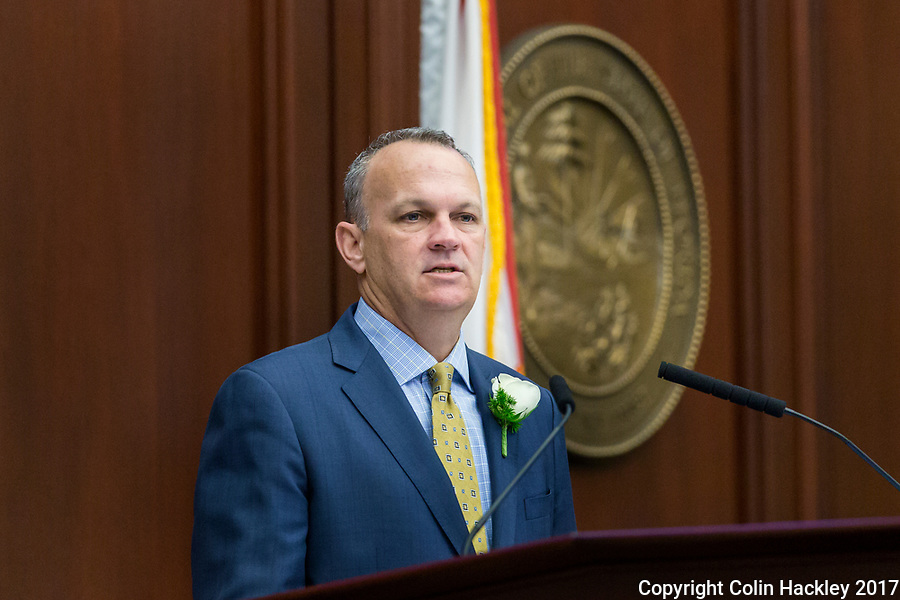 TALLAHASSEE, FLA. 3/7/17-House Speaker Richard Corcoran, R-Land O'Lakes, talks during opening day of the legislative session at the Capitol in Tallahassee.<br /> <br /> COLIN HACKLEY PHOTO
