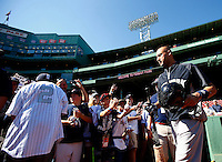 Derek Jeter #2 of the New York Yankees takes the field for batting practice prior to his final game of his career against the Boston Red Sox at Fenway Park on September 27, 2014 in Boston, Massachusetts. (Photo by Jared Wickerham for the New York Daily News)