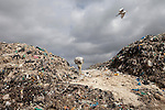 13 february 2013 - Dandora dumpsite, Nairobi, Kenya - A Kenyan man lifts a sack of recyclable materials at the Dandora dumpsite, one of the largest and most toxic in Africa. Located near slums in the east of the Kenyan capital Nairobi, the open dump site was created in 1975 and covers 30 acres. The site receives 2,000 tonnes of unfiltered garbage daily, including hazardous chemical and hospital wastes. .It is a source of survival for many people living in the surrounding slums, however it also harms children and adults' health in the area and pollutes the Kenyan capital. Photo credit: Benedicte Desrus
