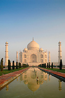 Named after its lotus-shaped fountain, the Lotus Pool reflects the magnificent Taj Mahal. The magnificent marble garden-tomb is surrounded four minarets and was built by Mughal emperor Shah Jahan in memory of his third wife, Mumtaz Mahal, who died in 1631 during childbirth.