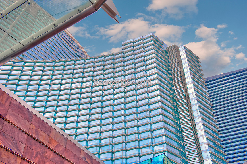 CityCenter, Resort, ARIA, Vdara, Hotels & Casinos, Las Vegas; Nevada; Architecture, Glass, Steel, Structures,  Hospitality, Strip, gambling, shopping,  Blue Sky, Travel, Destination, View, Unique, Quality