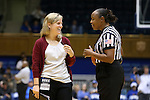 14 December 2015: UMass assistant coach Jen MacAulay (left) and referee Felicia Grinter (right). The Duke University Blue Devils hosted the University of Massachusetts Minutewomen at Cameron Indoor Stadium in Durham, North Carolina in a 2015-16 NCAA Division I Women's Basketball game. Duke won the game 70-46.